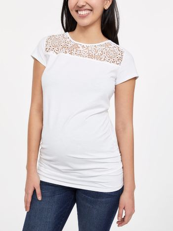 Short Sleeve Maternity Top with Crochet