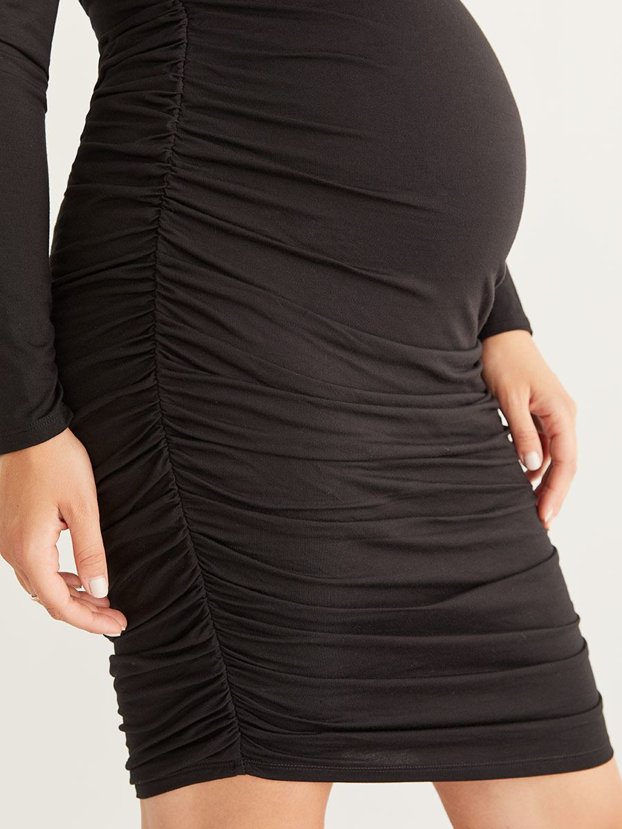 Ruched Maternity Knit Dress