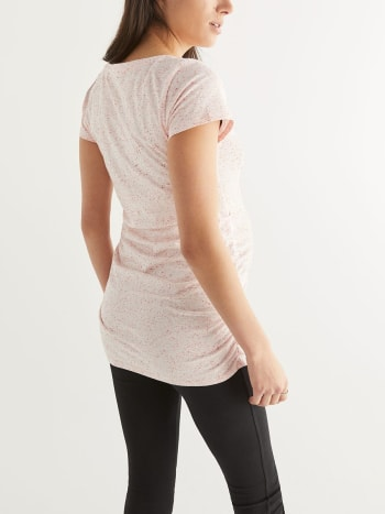 Ruched Maternity T-Shirt with Chest Pocket
