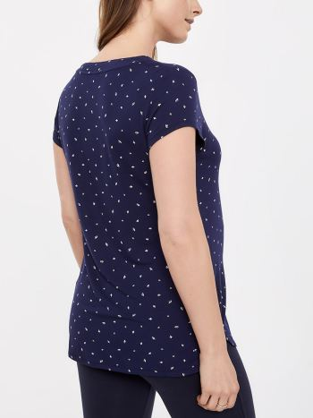 Printed Short Sleeve Henley Nursing Top with Front Buttons