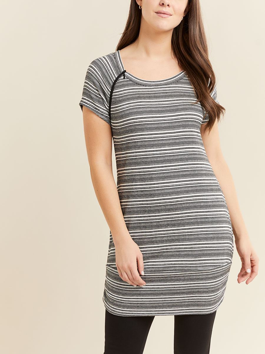 Striped Short Sleeve Textured Nursing and Maternity Tunic