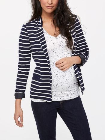 Stork & Babe - Striped Long Sleeve Maternity Blazer