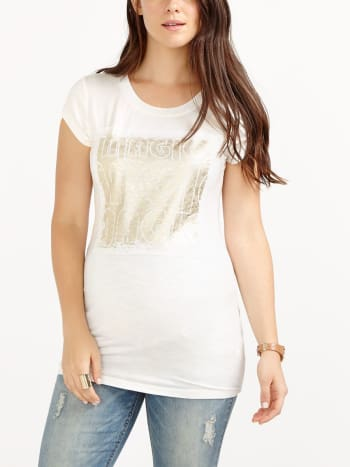 Printed Lace Patch Cap Sleeve Maternity Top