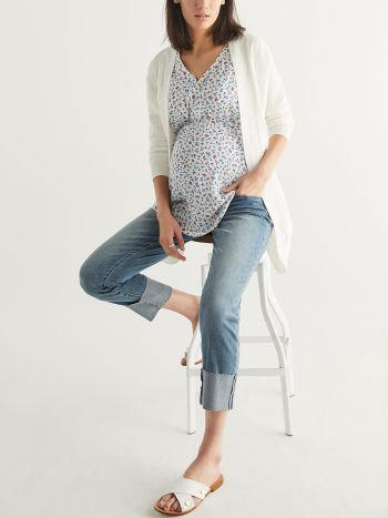3/4 Sleeve Ribbed Maternity Cardigan with Belt