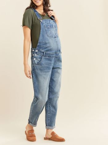 Light Blue Maternity Jean Overall