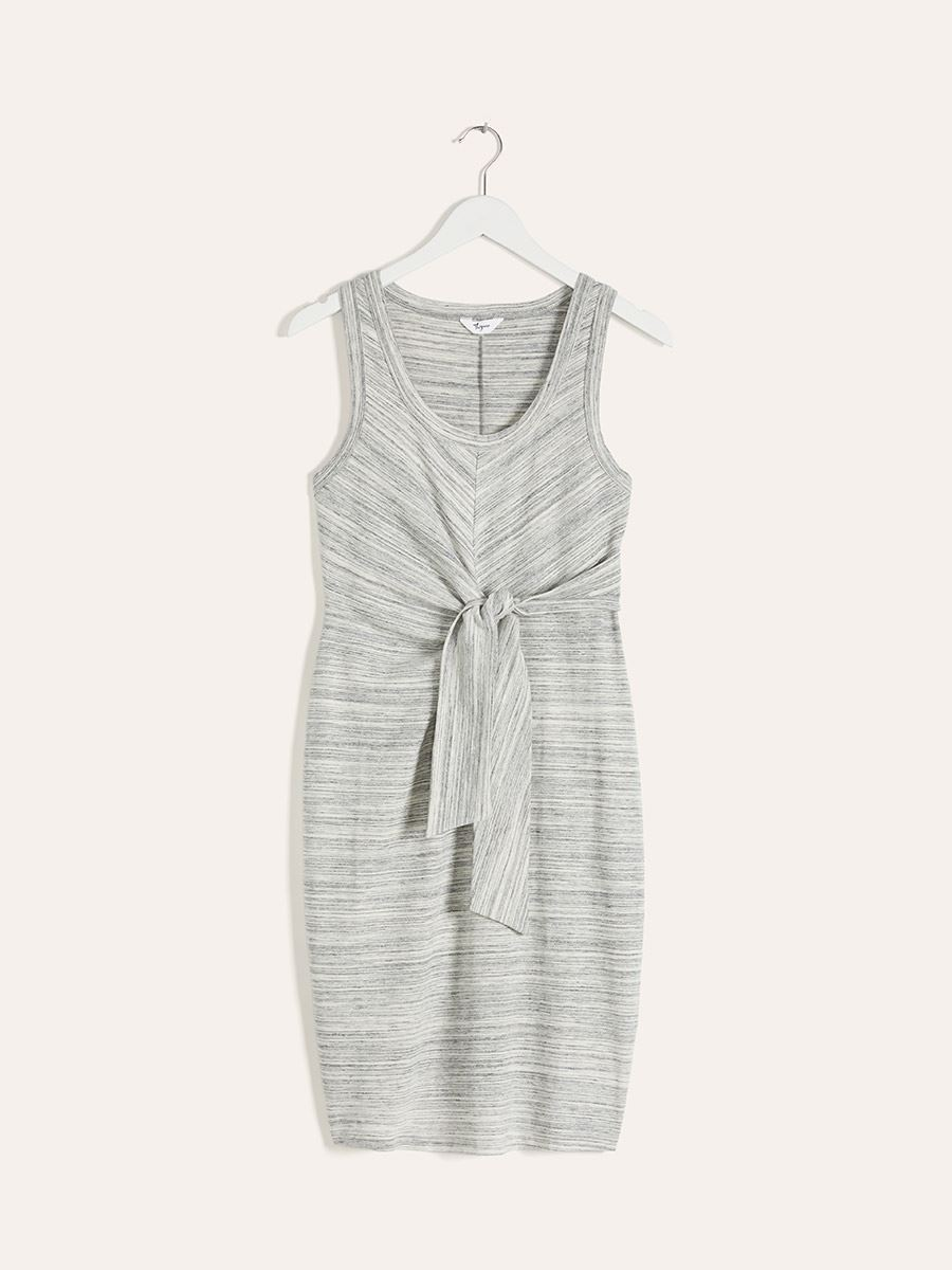 Grey Bodycon Maternity Dress with Waist Ties