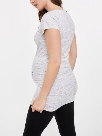 Printed Cotton Short Sleeve Maternity T-Shirt