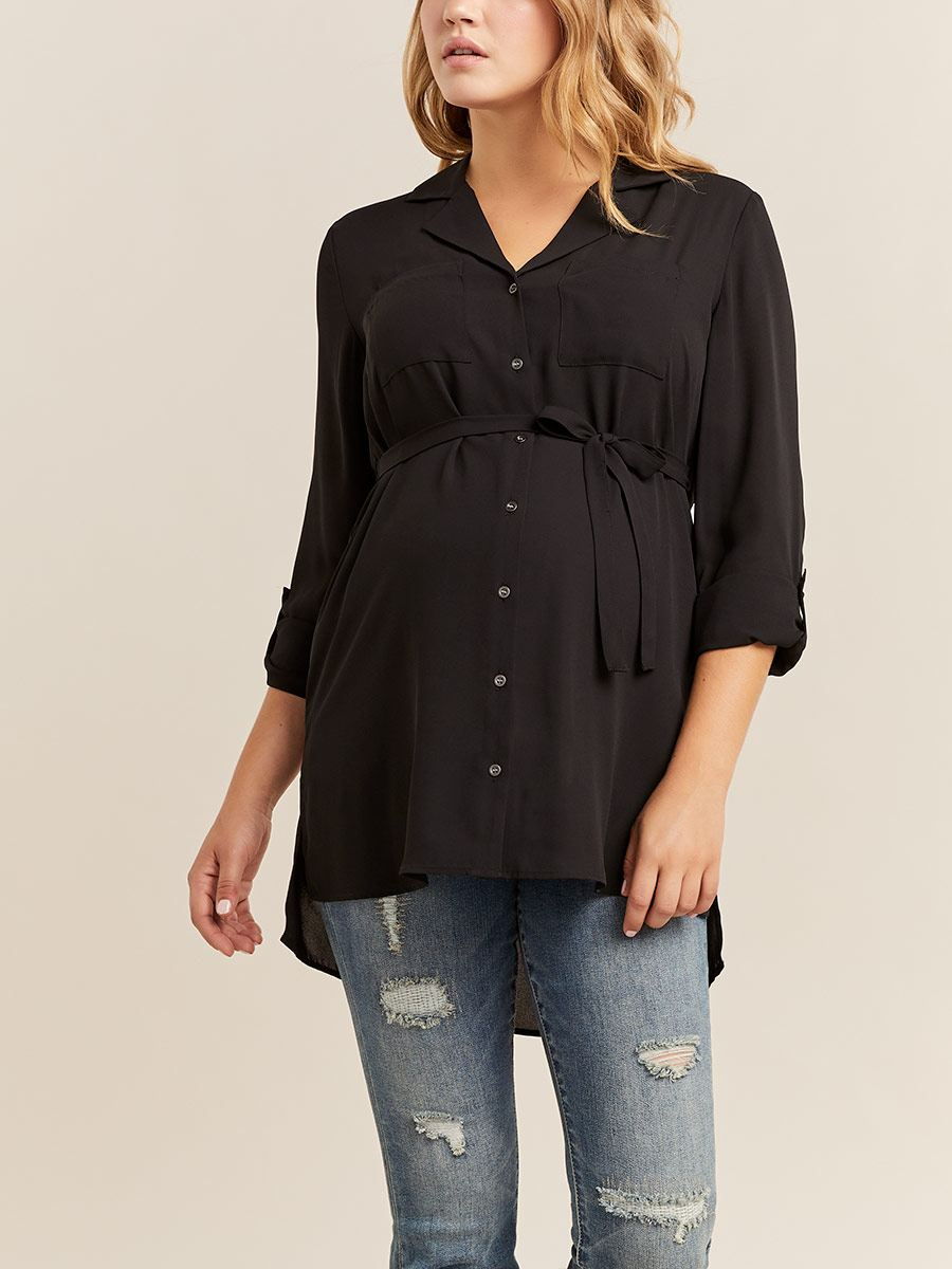 Stork & Babe - Belted Maternity Collar Blouse