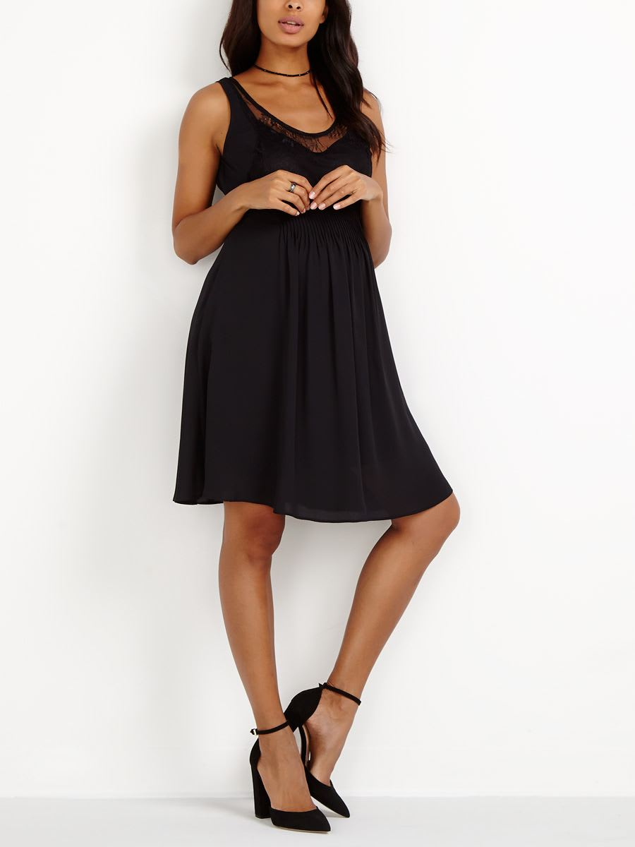 Stork & Babe - Black Maternity Dress with Lace