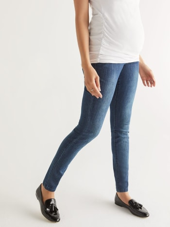 Regular Fit Skinny Leg Medium Blue Maternity Jean