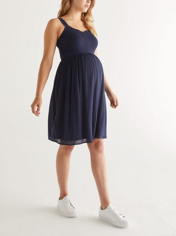 Smocked Shirred Maternity Dress
