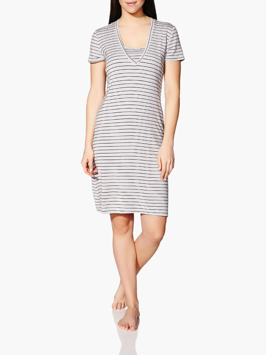 9e9bb9a073c35 Short Sleeve Striped Nursing Nightgown | Thyme Maternity