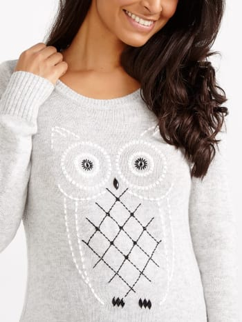 Embroidered Maternity Sweater with Rhinestones