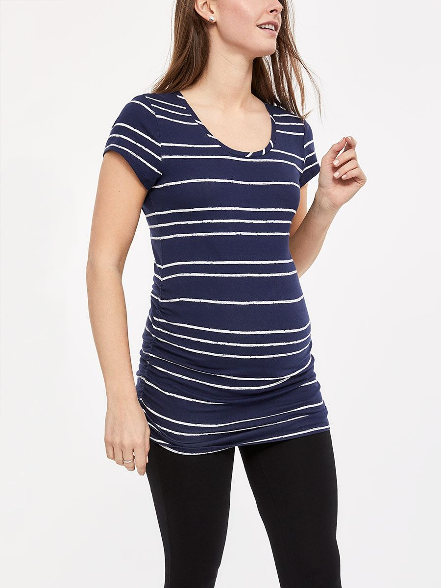 Striped Short Sleeve Maternity T-Shirt