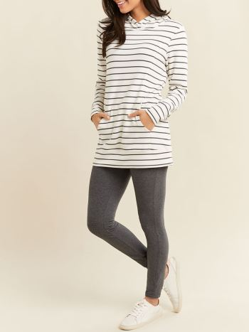Striped Long Sleeve Hooded Nursing Top