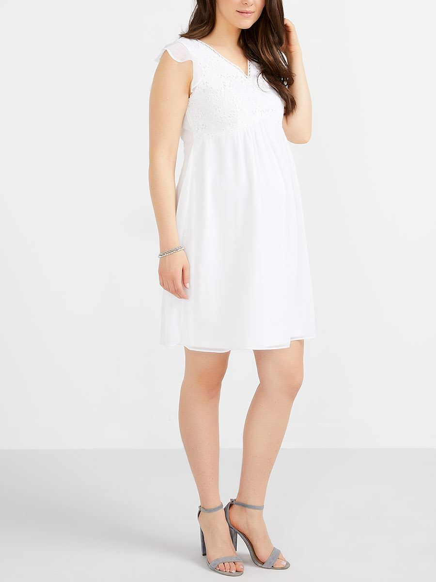 Stork Babe Sleeveless Maternity Dress With Crochet Thyme