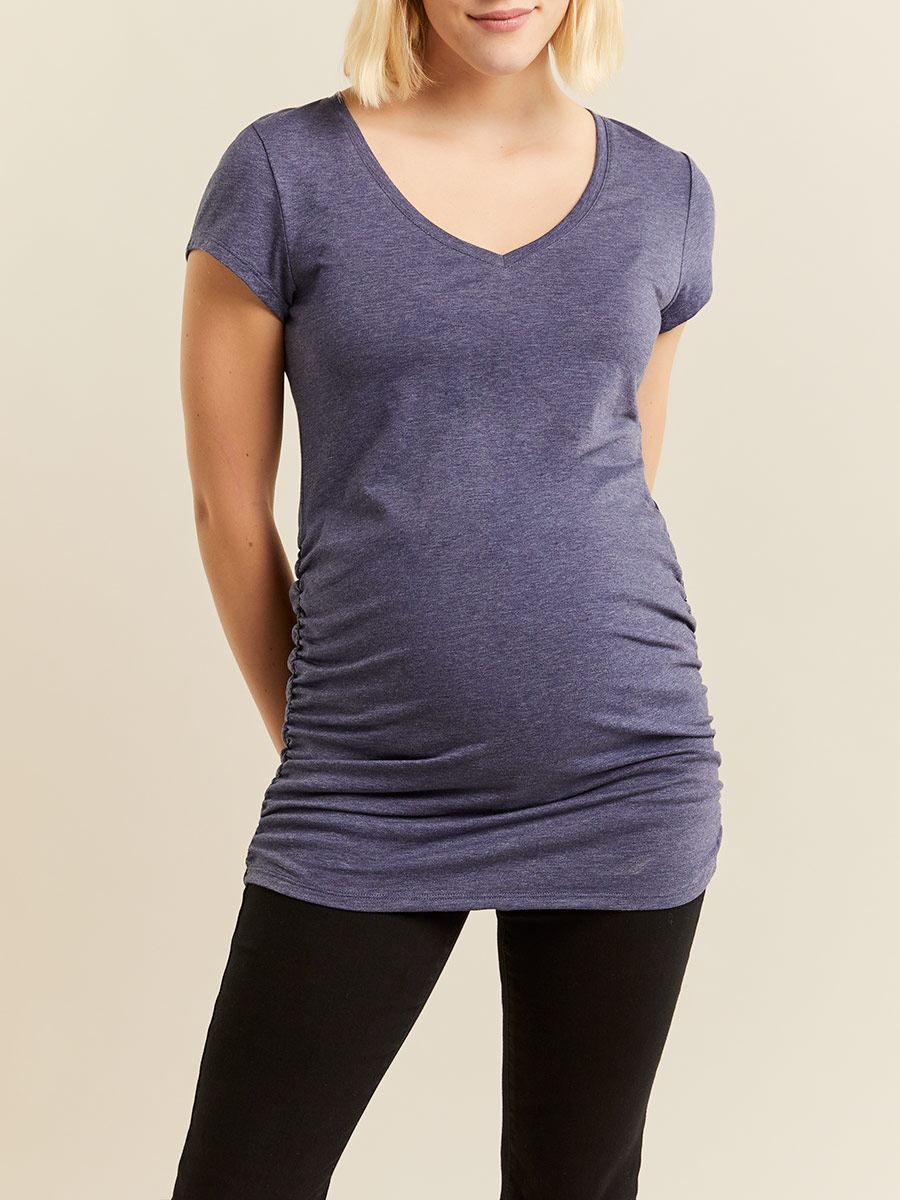 Ruched Cap Sleeve Maternity Top