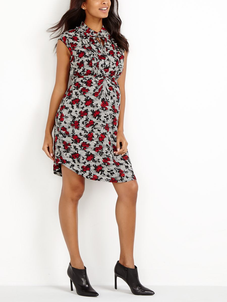 Stork & Babe - Printed Ruffled Maternity Shirtdress