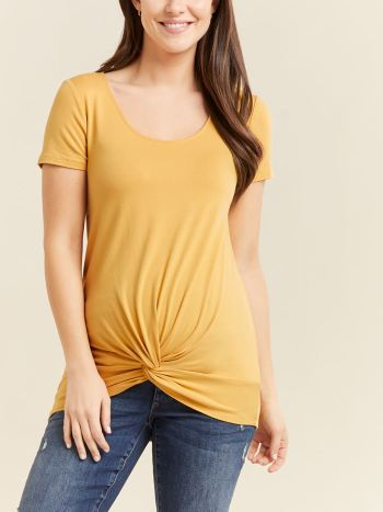 Short Sleeve Front Knot Maternity Top
