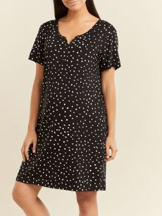 Printed Oversized Short Sleeve Maternity Nightgown
