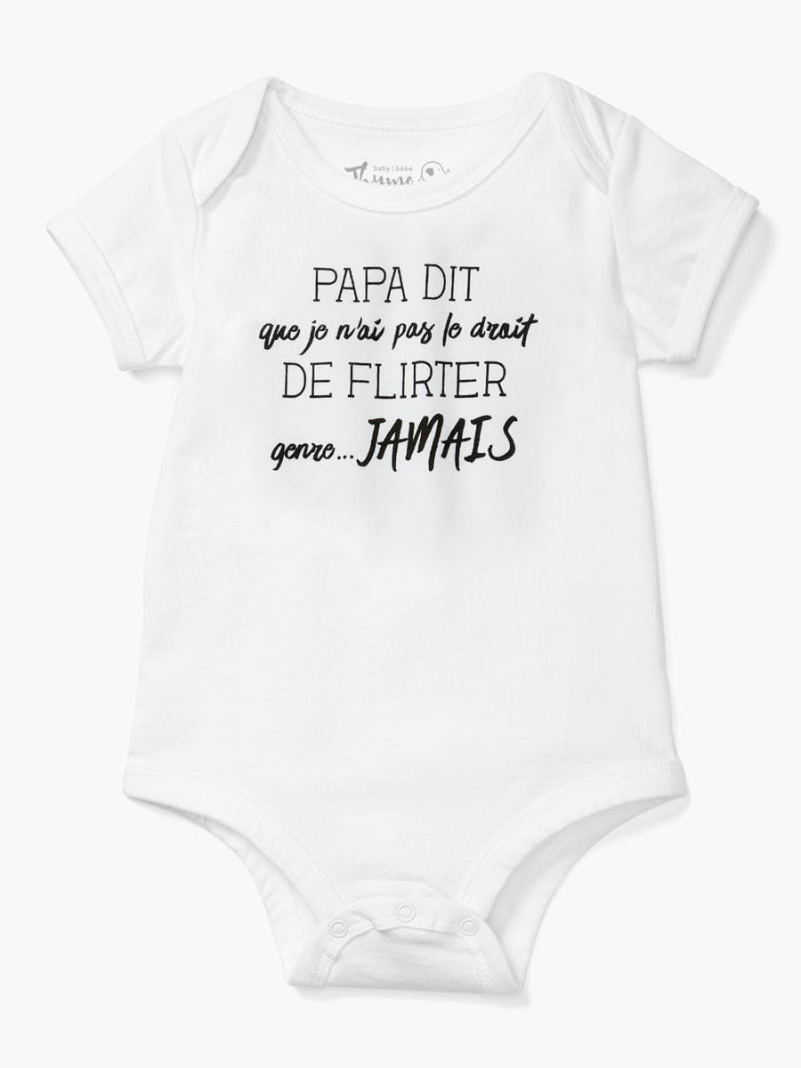 Baby Thyme - White Printed Baby Onesie