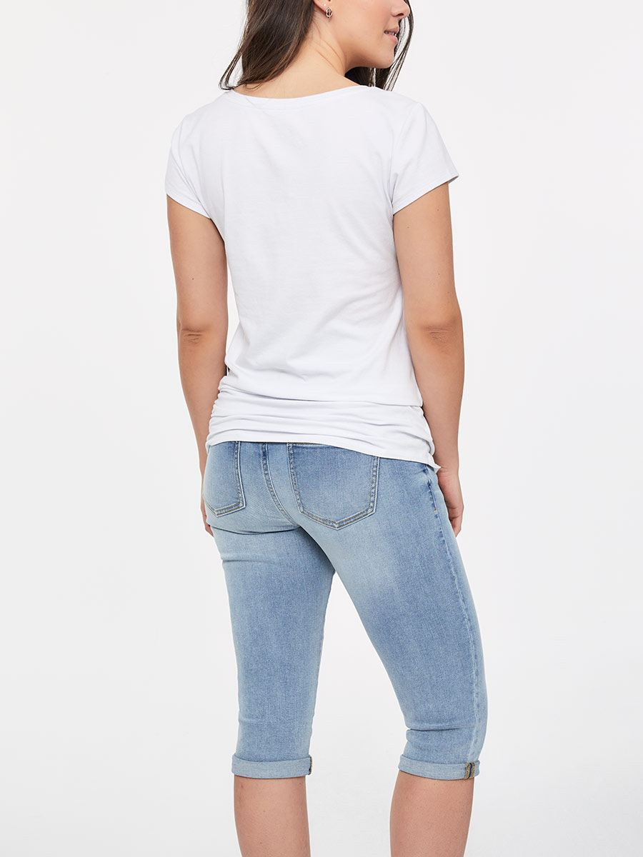 Light Blue Maternity Jean Capri
