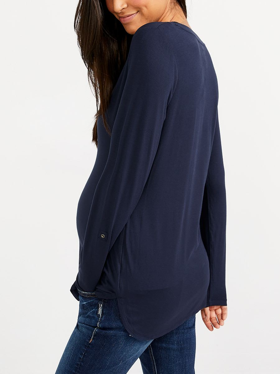 ONLINE ONLY - Long Sleeve Henley Nursing Top