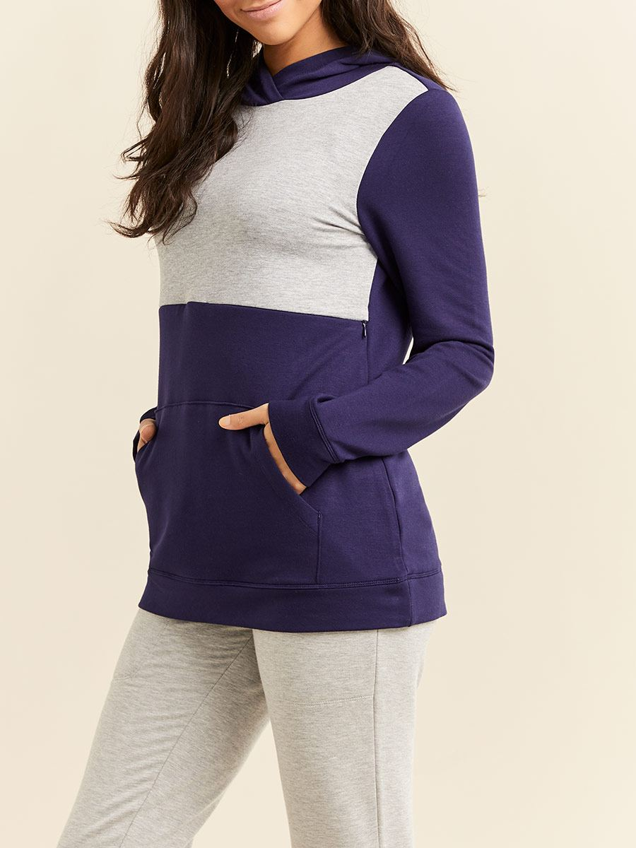 Long Sleeve Colour Block Nursing & Maternity Hoodie with Zipper