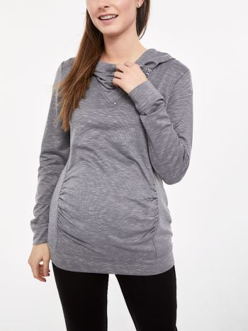 Long Sleeve Maternity Hoodie with Asymmetrical Front Zip