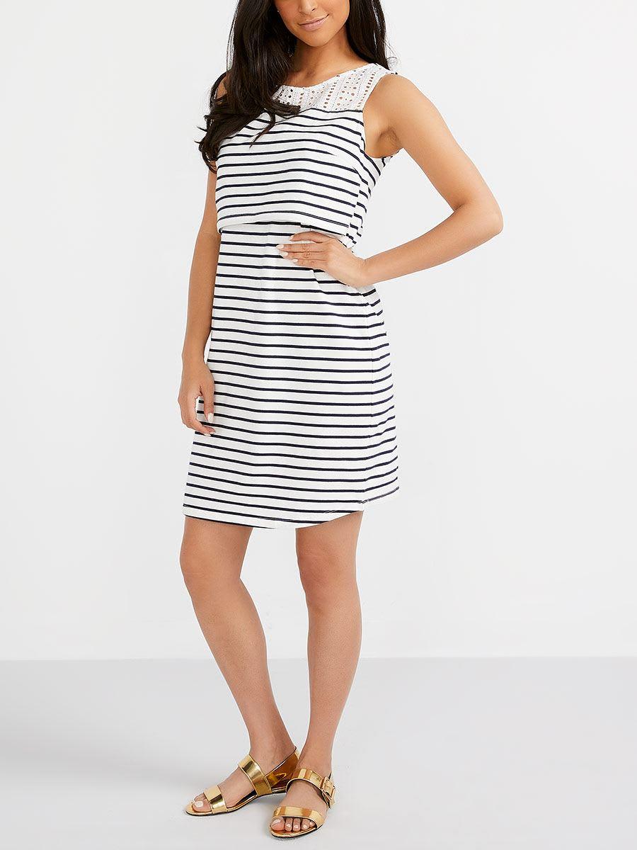 e6633408e5dd0 Striped Nursing Dress with Crochet | Thyme Maternity