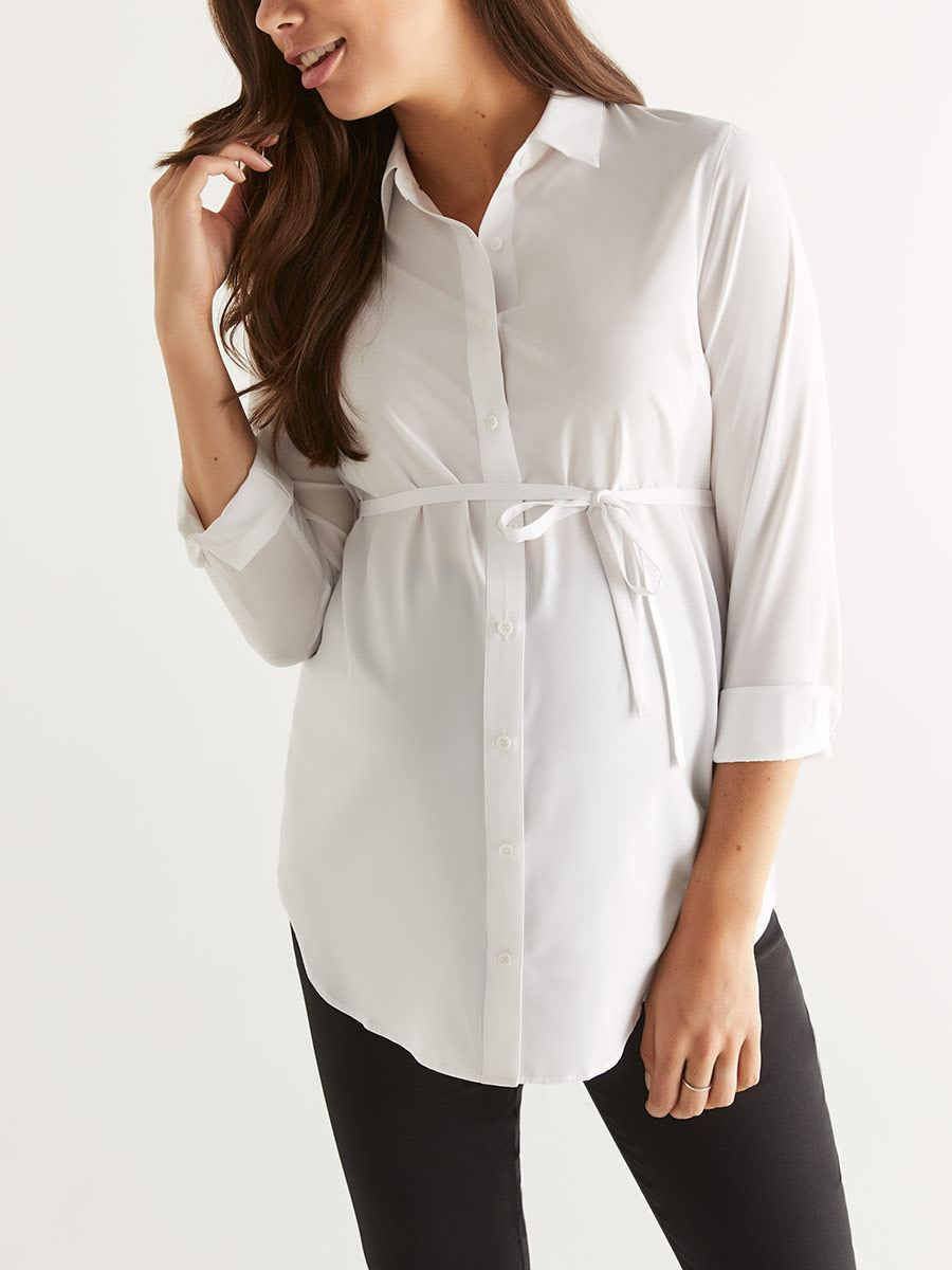 Stork & Babe - Maternity Collar Blouse with Belt