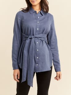 Long Sleeve Belted Shirt Collar Maternity Blouse
