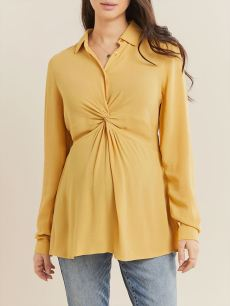 Long Sleeve Front Knot Maternity Blouse