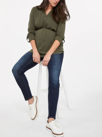 Long Sleeve Button-Up Popover Blouse