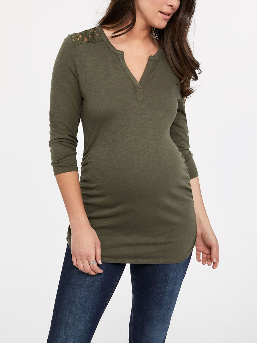 7633181dbadfb 3/4 Sleeve Henley Maternity Top with Lace | Thyme Maternity