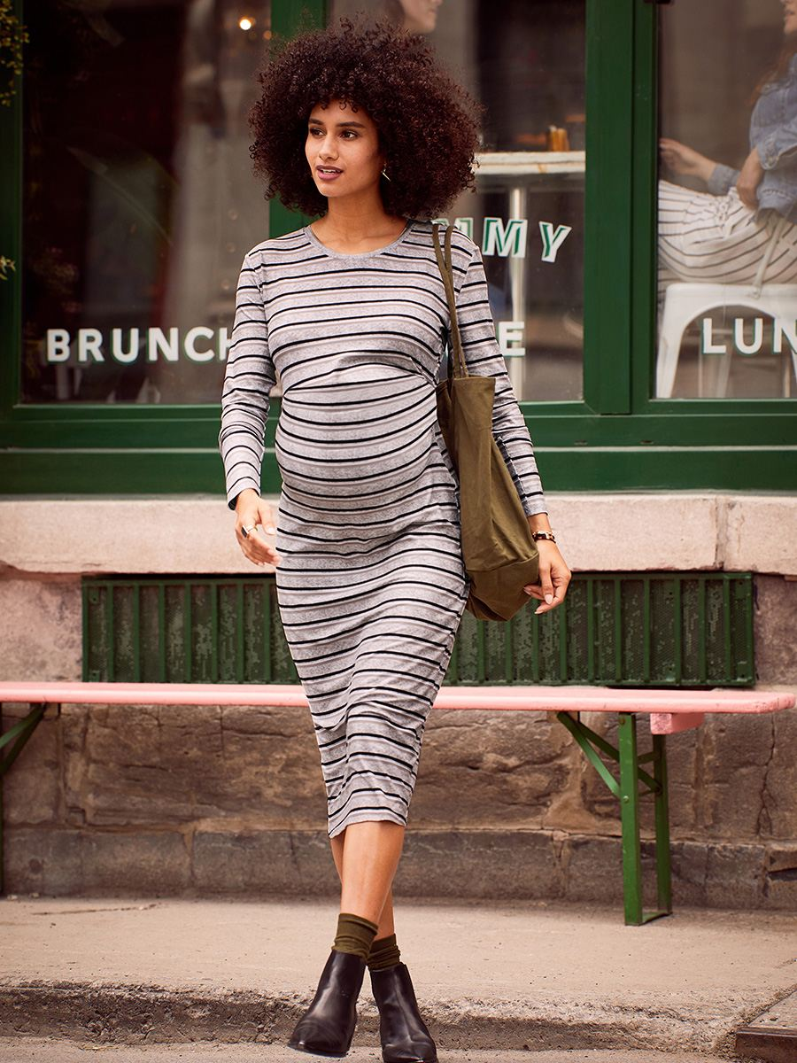 Striped Long Sleeve Soft Touch Maternity Dress