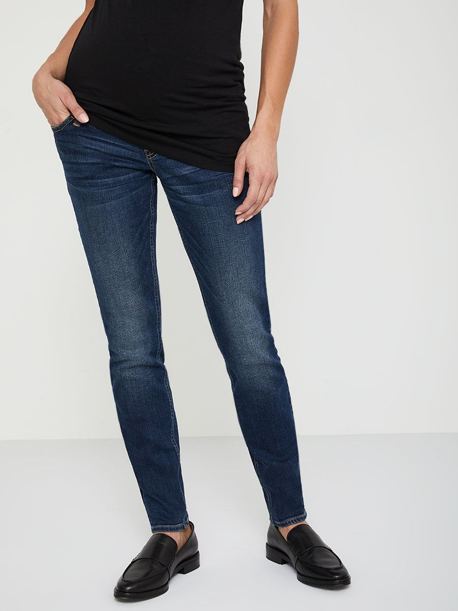 Petite - Dark Regular Fit Skinny Leg Maternity Jean