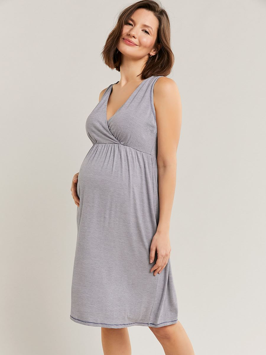 Striped Crossover Maternity Nightgown