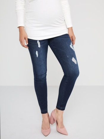 Dark Distressed Super Skinny Maternity Jean