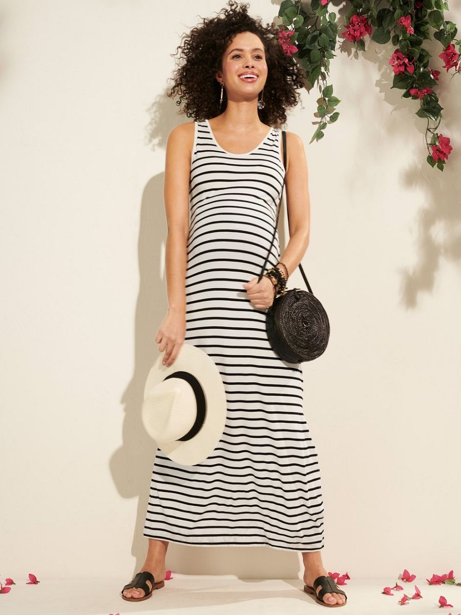 Striped Sleeveless Maternity Maxi Dress with Side Slits