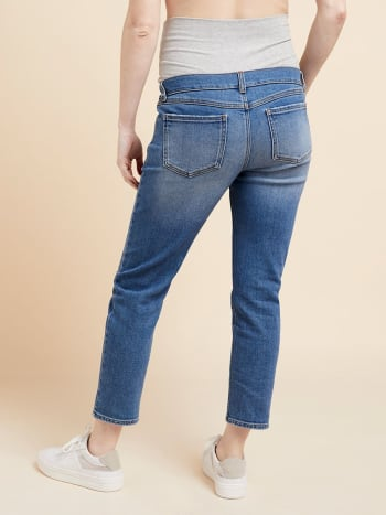 Vintage Blue Straight Ankle Maternity Jean