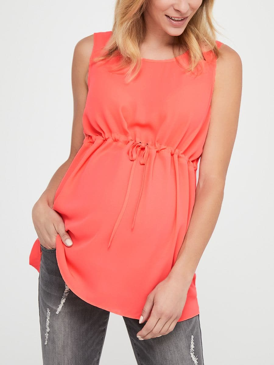 Sleeveless Maternity Blouse with Drawstring