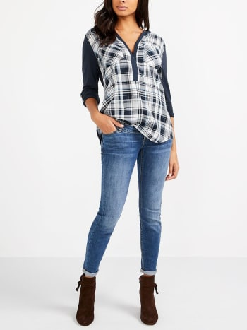 Long Sleeve Plaid Nursing Blouse