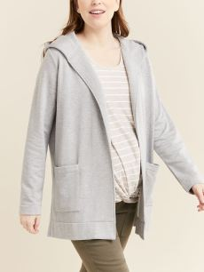 Hooded Long Sleeve Brushed Maternity Cardigan