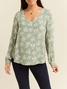 Printed Long Sleeve Maternity Blouse