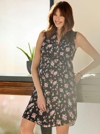 0b33b1e57e Stork   Babe - Printed Sleeveless Box Pleat Maternity Dress