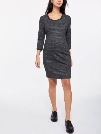 Stork & Babe - Textured 3/4 Sleeve Maternity Dress with Zip
