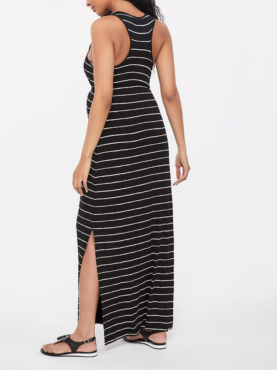 Striped Sleeveless Maternity Maxi Dress