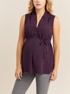 Stork & Babe - Sleeveless Box Pleat Maternity Blouse