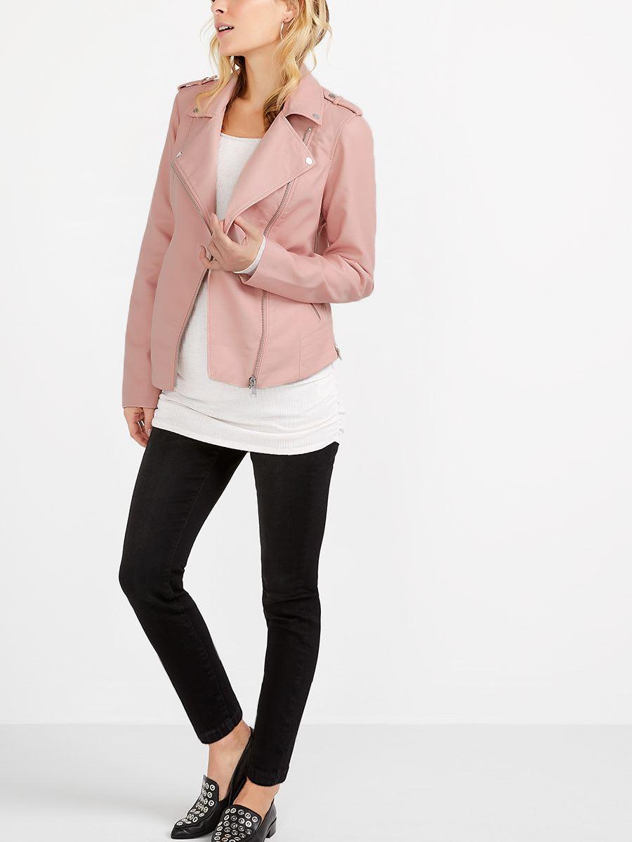 05d1cb143e822 Faux-Leather Maternity Moto Jacket